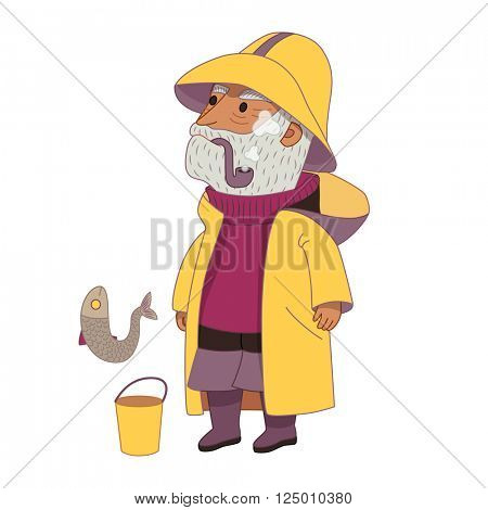 Fisherman, flat cartoon vector illustration, an elderly grey-haired man wearing vintage fisherman hat, raincoat, sweater and boots, with a bucket and a fish, a part of Dodo people collection