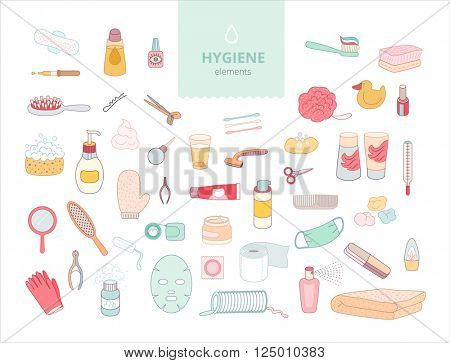 The set of hygiene elements on white background, flat cartoon vector illustration