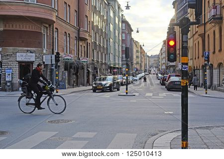 Stockholm, Sweden - March, 16, 2016: multystoried inhabited buildings in Stockholm, Sweden