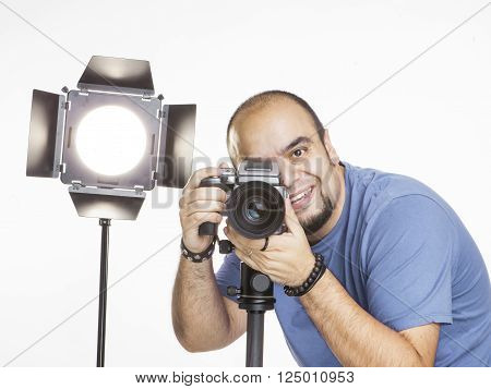 professional photographer in the studio in clear background