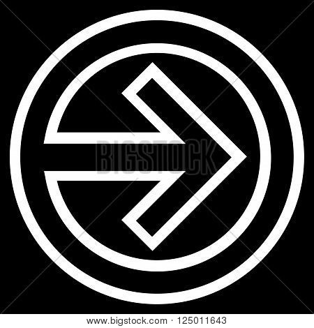 Import vector icon. Style is stroke icon symbol, white color, black background.