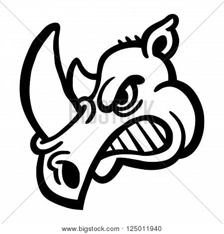 A vector icon of a rhino with a big horn