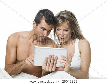 sexy man and woman making plans together