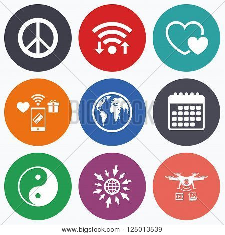Wifi, mobile payments and drones icons. World globe icon. Ying yang sign. Hearts love sign. Peace hope. Harmony and balance symbol. Calendar symbol.