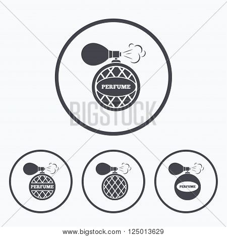 Perfume bottle icons. Glamour fragrance sign symbols. Icons in circles.