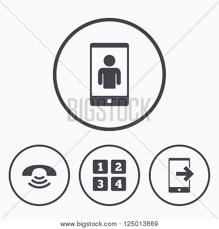 Phone icons. Smartphone video call sign. Call center support symbol. Cellphone keyboard symbol. Icons in circles.
