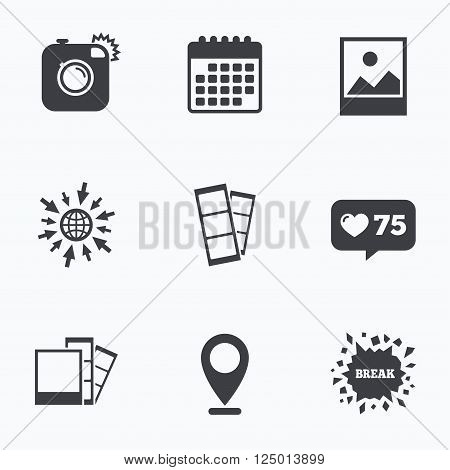 Calendar, like counter and go to web icons. Hipster photo camera icon. Flash light symbol. Photo booth strips sign. Landscape photo frame. Location pointer.