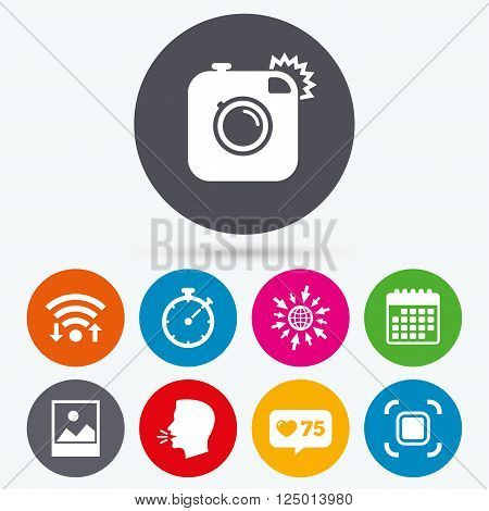 Wifi, like counter and calendar icons. Hipster retro photo camera icon. Autofocus zone symbol. Stopwatch timer sign. Landscape photo frame. Human talk, go to web.