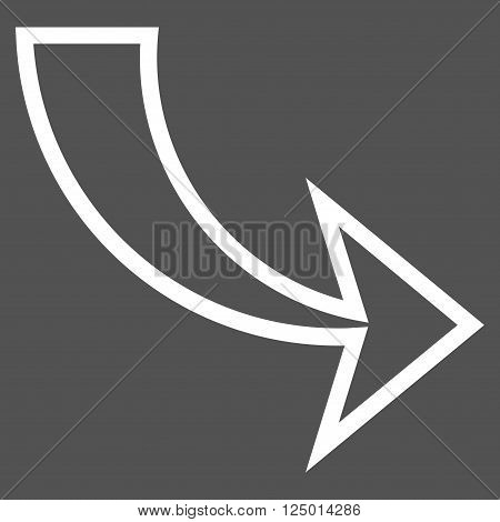Redo vector icon. Style is outline icon symbol, white color, gray background.