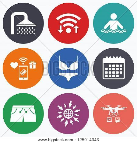 Wifi, mobile payments and drones icons. Swimming pool icons. Shower water drops and swimwear symbols. Human stands in sea waves sign. Trunks and women underwear. Calendar symbol.
