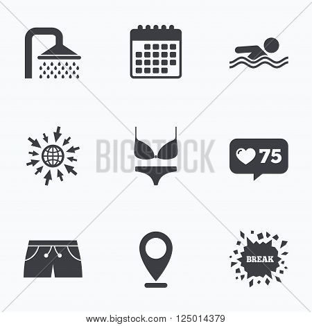 Calendar, like counter and go to web icons. Swimming pool icons. Shower water drops and swimwear symbols. Human swims in sea waves sign. Trunks and women underwear. Location pointer.