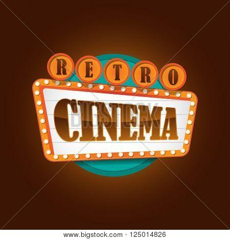 Retro theater cinema sign banner
