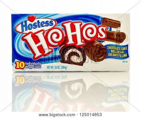 Winneconne, WI - 8 April 2016:  Box of Ho Hos made by Hostess on an isolated background.