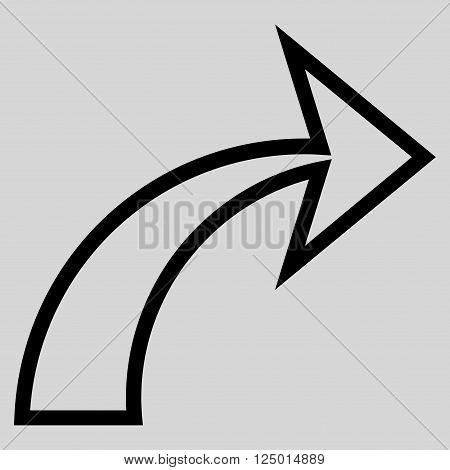 Redo vector icon. Style is outline icon symbol, black color, light gray background.