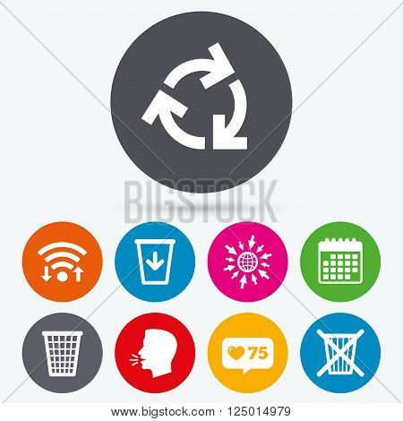 Wifi, like counter and calendar icons. Recycle bin icons. Reuse or reduce symbols. Trash can and recycling signs. Human talk, go to web.