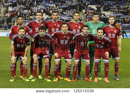 BARCELONA - FEB, 8: Real Sociedad lineup before a Spanish League match against RCD Espanyol at the Power8 stadium on February 8, 2016 in Barcelona, Spain