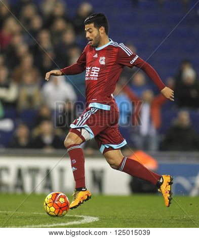 BARCELONA - FEB, 8: Carlos Vela of Real Sociedad during a Spanish League match against RCD Espanyol at the Power8 stadium on February 8, 2016 in Barcelona, Spain