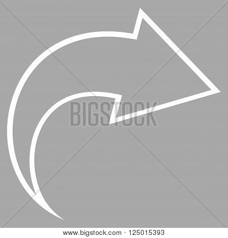 Redo vector icon. Style is outline icon symbol, white color, silver background.