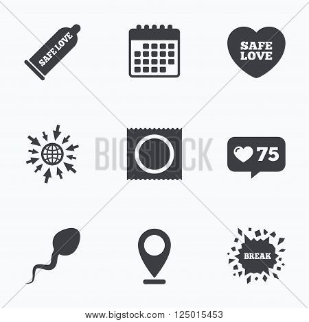 Calendar, like counter and go to web icons. Safe sex love icons. Condom and package symbol. Sperm sign. Fertilization or insemination. Location pointer.