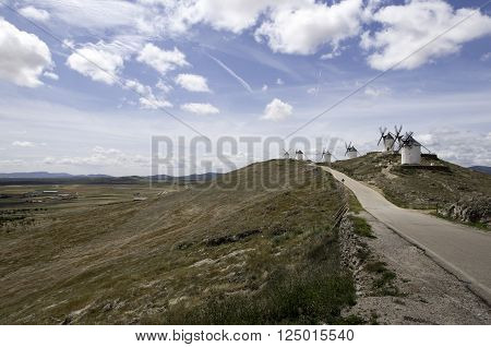 Don Quixote windmills at Consuegra Spain during the day ** Note: Soft Focus at 100%, best at smaller sizes