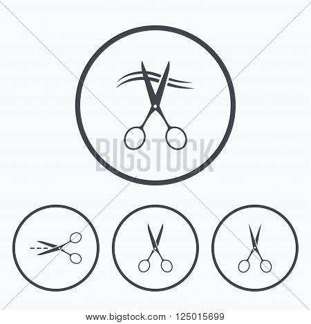 Scissors icons. Hairdresser or barbershop symbol. Scissors cut hair. Cut dash dotted line. Tailor symbol. Icons in circles.