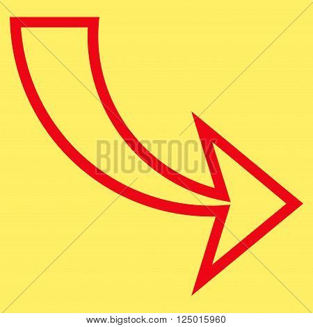 Redo vector icon. Style is outline icon symbol, red color, yellow background.