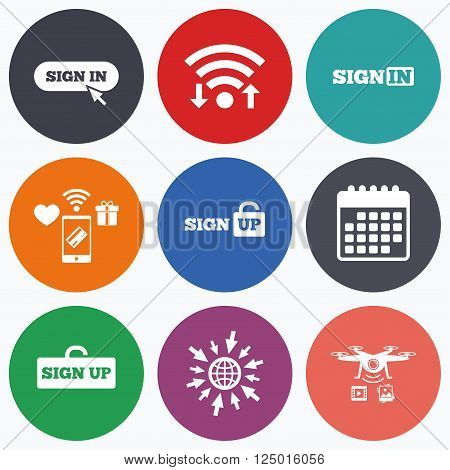 Wifi, mobile payments and drones icons. Sign in icons. Login with arrow, hand pointer symbols. Website or App navigation signs. Sign up locker. Calendar symbol.