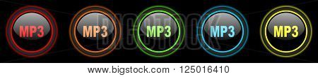 mp3 colored web icons set on black background
