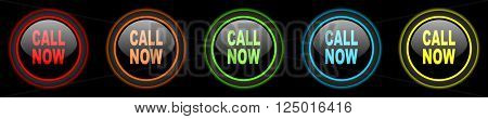 call now colored web icons set on black background