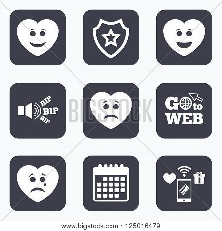 Mobile payments, wifi and calendar icons. Heart smile face icons. Happy, sad, cry signs. Happy smiley chat symbol. Sadness depression and crying signs. Go to web symbol.