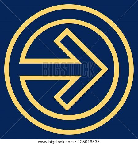 Import vector icon. Style is contour icon symbol, yellow color, blue background.