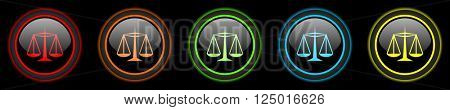 justice colored web icons set on black background
