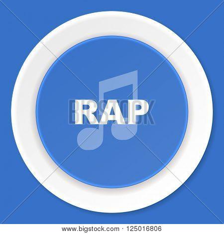 rap music blue flat design modern web icon