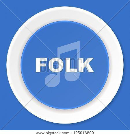 folk music blue flat design modern web icon