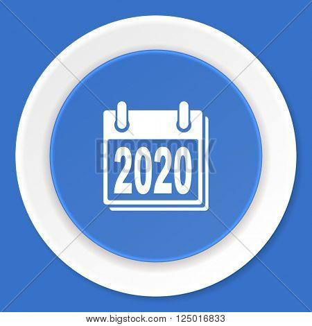 new year 2020 blue flat design modern web icon