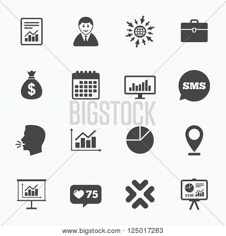 Calendar, go to web and like counter. Statistics, accounting icons. Charts, presentation and pie chart signs. Analysis, report and business case symbols. Sms speech bubble, talk symbols.