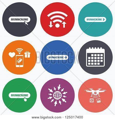 Wifi, mobile payments and drones icons. Subscribe icons. Membership signs with arrow or hand pointer symbols. Website navigation. Calendar symbol.