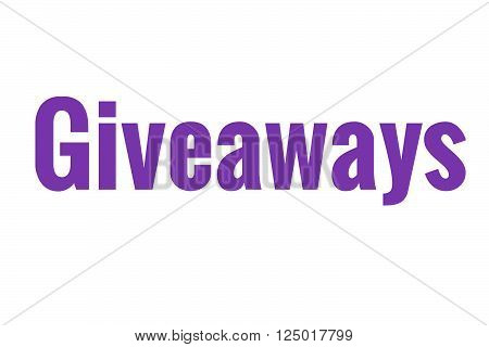 The word giveaways in purple, great for blogs and businesses.