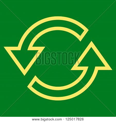 Sync Arrows vector icon. Style is outline icon symbol, yellow color, green background.