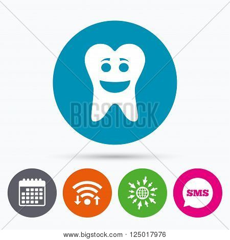 Wifi, Sms and calendar icons. Tooth happy face sign icon. Dental care symbol. Healthy teeth. Go to web globe.