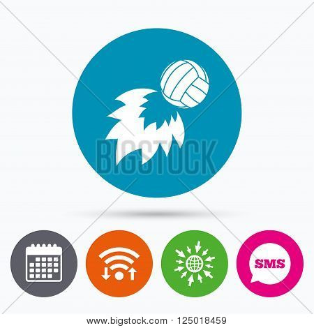 Wifi, Sms and calendar icons. Volleyball fireball sign icon. Beach sport symbol. Go to web globe.