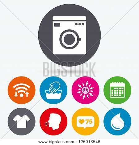 Wifi, like counter and calendar icons. Washing machine icon. Hand wash. T-shirt clothes symbol. Laundry washhouse and water drop signs. Not machine washable. Human talk, go to web.