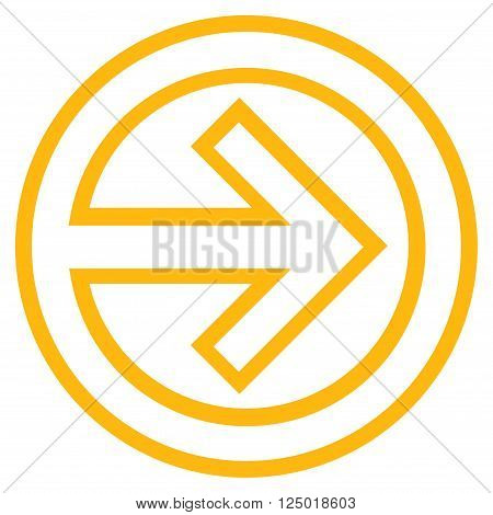Import vector icon. Style is contour icon symbol, yellow color, white background.