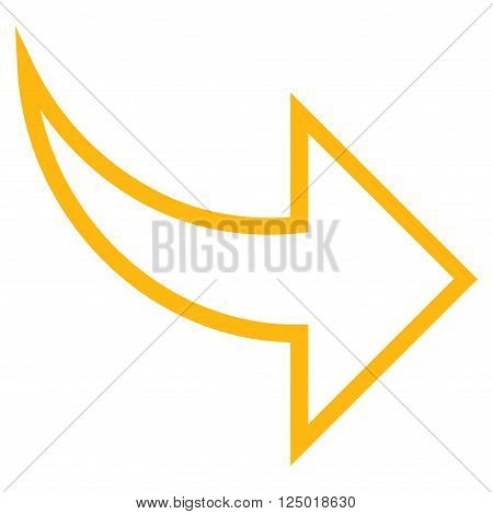 Redo vector icon. Style is stroke icon symbol, yellow color, white background.