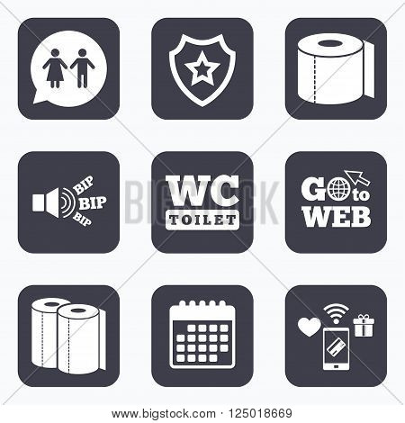 Mobile payments, wifi and calendar icons. Toilet paper icons. Gents and ladies room signs. Paper towel or kitchen roll. Man and woman symbols. Go to web symbol.