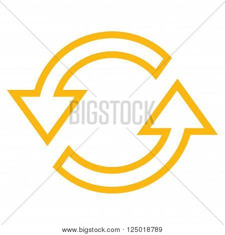 Sync Arrows vector icon. Style is stroke icon symbol, yellow color, white background.