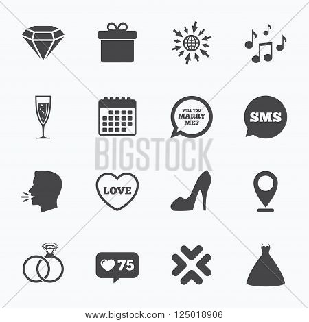 Calendar, go to web and like counter. Wedding, engagement icons. Rings, gift box and brilliant signs. Dress, shoes and musical notes symbols. Sms speech bubble, talk symbols.