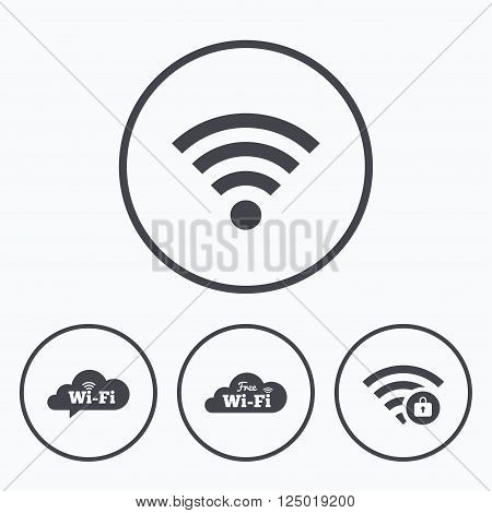 Free Wifi Wireless Network cloud speech bubble icons. Wi-fi zone locked symbols. Password protected Wi-fi sign. Icons in circles.