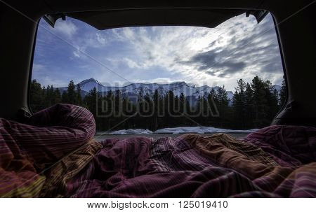 View from car camping in the mountains