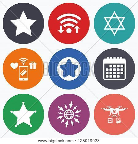 Wifi, mobile payments and drones icons. Star of David icons. Sheriff police sign. Symbol of Israel. Calendar symbol.